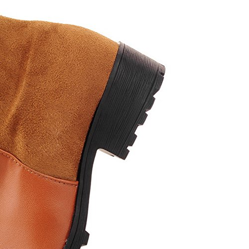 AmoonyFashion Womens Closed Round Toe Low Heels Frosted?Assorted Colors Boots with Square Heels Brown B1VueWAS6