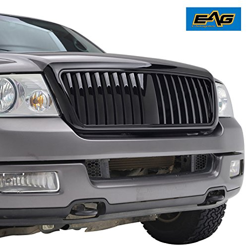 EAG 04-08 Ford F-150 Replacement Grille Glossy Black ABS Vertical Bar Grill With Shell ()