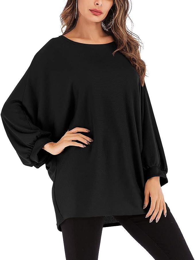 Moda para Mujer Camiseta Suelta Blusa con Manga de murciélago ...