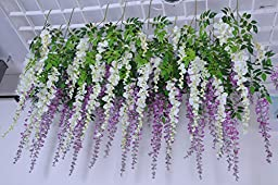 Coobl Realistic Romantic Classic Artificial Fake Wisteria Vine Ratta Silk Flowers for Garden Floral Decoration, DIY Living Room Hanging Flower