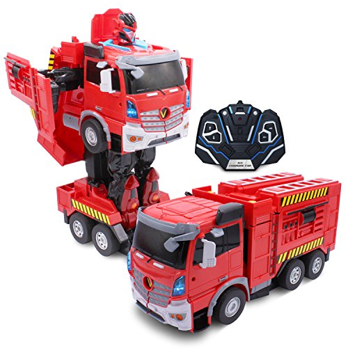 Kids RC Toy Car Transforming Robot Fire Truck One Button Transformation Engine Sound Dance Mode 360 Spinning Speed Drifting 2 Band 2.4 GHz Remote Control RC Vehicle Toys for Boys