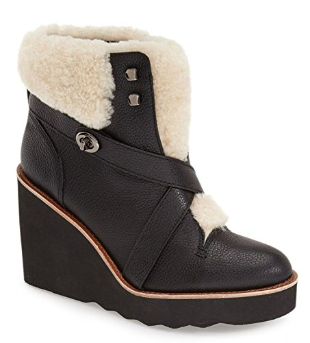 Image of Coach Kenna Plsh Women US 8.5 Black Ankle Boot