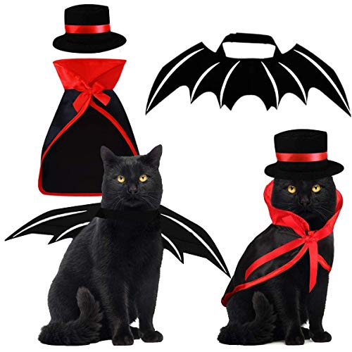 Funny Pet Cat Halloween Costumes (Pet Costumes Cat Cosplay 3 PCS, Vampire Cloak with Bowler Hat Bat Wings Pet Cosplay Costumes for Small Cats Funny Holiday Clothes for Black Halloween Night Bloody Zombie Party Easter)
