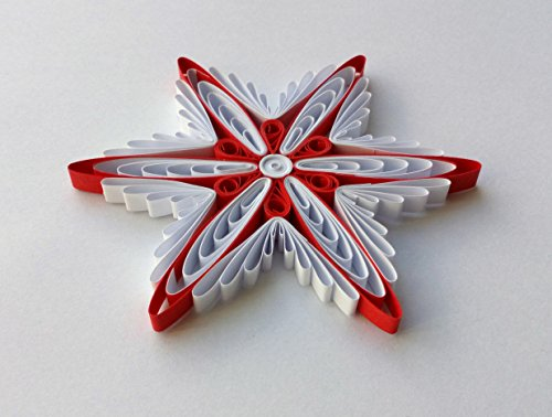 Quilling Art Paper Snowflake Star 3 3/8″ x 3 3/8″ Modern Home Decor Christmas Ornament Gift Hanging Accessories Red White from JeAdoreQuilling