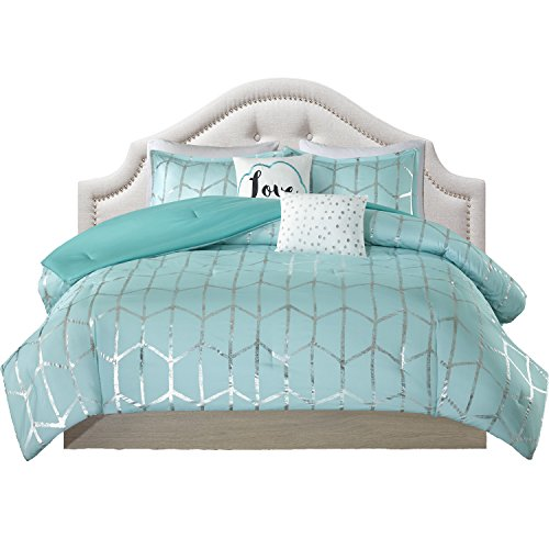 Teen Bedding for Girls Comforter Set Full Queen King Twin Aqua Blue Silver Metallic Print Dorm Room Bedspread Bundle Includes Bonus Coordinating Sleep Mask (Twin/Twin XL)