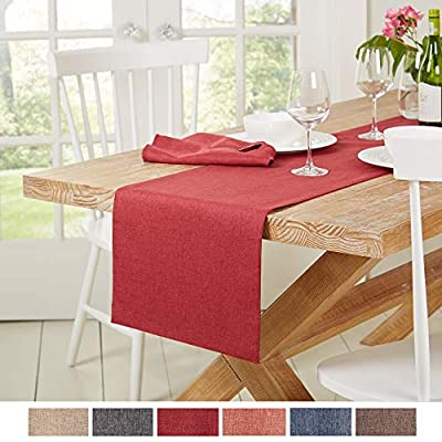 "Town & Country Living Somers Table Runner 15""x72"" Rectangle, Stain Resistant Machine Washable Polyester, Solid Red - SIZE AND COLOR - The Somers Table Runner in Claret Red measures 15"" W x 72"" L. LOOK OF LINEN - Offers the modern, textured and crinkled look of linen without the high price tag. It's perfect for both everyday dining and formal meals. DURABLE AND LONG LASTING - Made with a textured, 100 polyester fabric that is water-repellent, stain-resistant and fade- resistant for long-lasting use. - table-runners, kitchen-dining-room-table-linens, kitchen-dining-room - 510EvlPpW L. SS400  -"