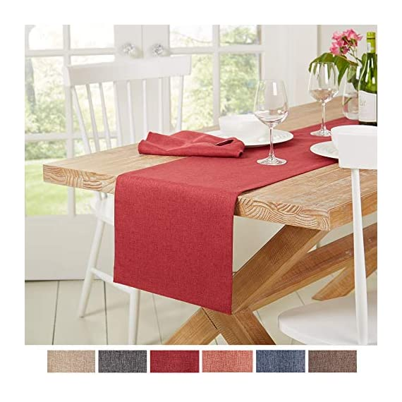 """Town & Country Living Somers Table Runner 15""""x72"""" Rectangle, Stain Resistant Machine Washable Polyester, Solid Red -  - table-runners, kitchen-dining-room-table-linens, kitchen-dining-room - 510EvlPpW L. SS570  -"""