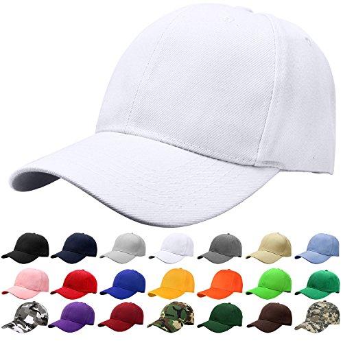 (Falari Baseball Cap Adjustable Size Solid Color G001-05-White)