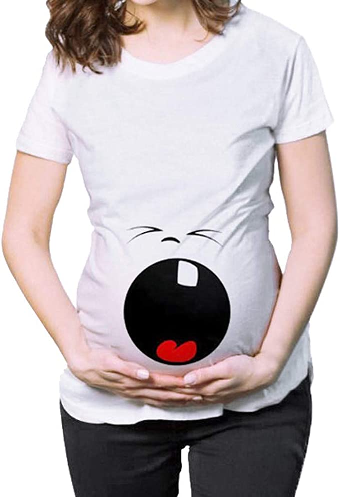 Mitlfuny Ropa premamá Tops Mujeres Embarazadas Maternidad Dibujos Animados Bebe Carta Estampado Camisa Lactancia Camiseta Verano Enfermería Embarazada Manga Corta Plisada Grande Embarazo Blusa: Amazon.es: Ropa y accesorios