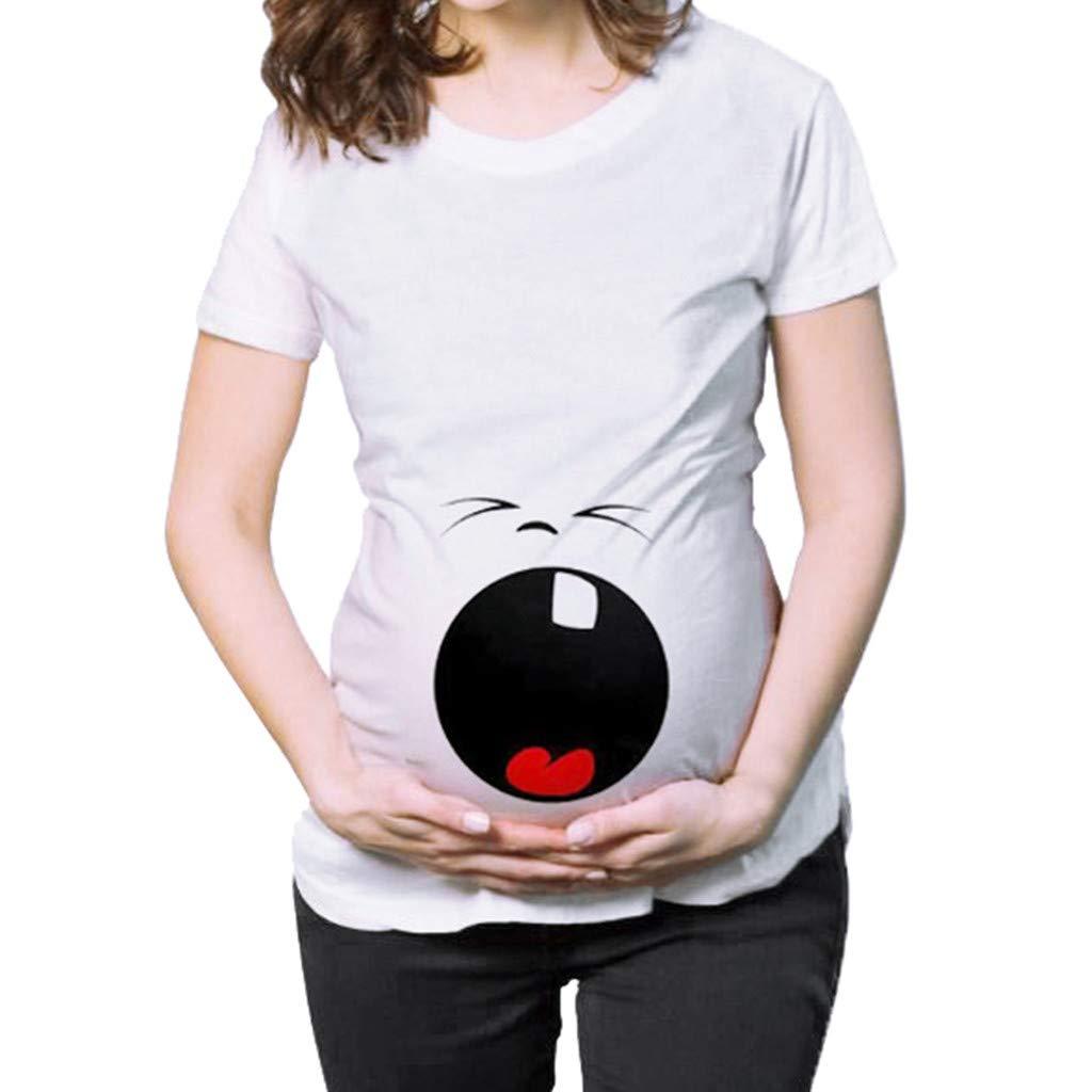 HCFKJ Womens Clothes Maternity Dress Coat Lady Maternity Short Sleeve Cartoon Letter Print Tops T-Shirt Pregnancy Clothes