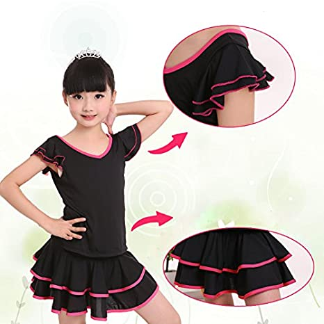 cc3abfbcc Amazon.com: Embiofuels(TM) Children Double V-Neck Ballroom Dresses Black  Girls Junior Latin Dance Dresses For Sale: Home & Kitchen
