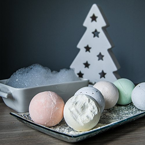 Bath Bombs Lush Holiday Gift Set of 6, Christmas Fizzies for Her & Him, Relieves Pain & Moisturizes Dry Skin, By Premium Nature