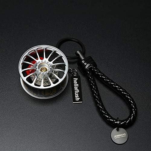 新しい車の自動金属ミニホイールリムタイヤキーチェーンキーリングギフトブラック AFQHJ (Color : Black)