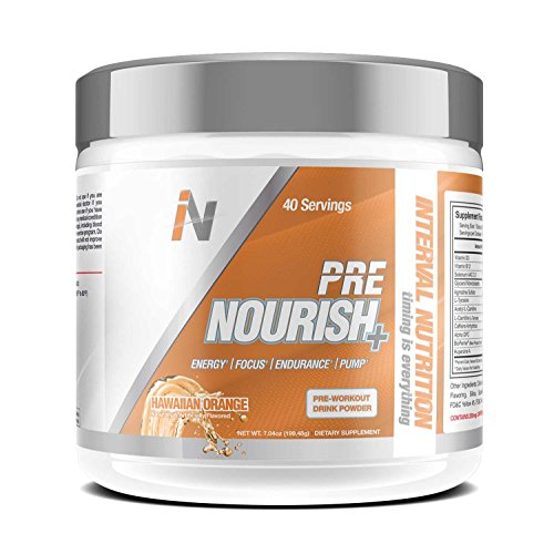 Interval Nutrition Pre Nourish+ Hawaiian Orange All Natural Energy and Endurance Pre-Workout Powder – 40 Servings