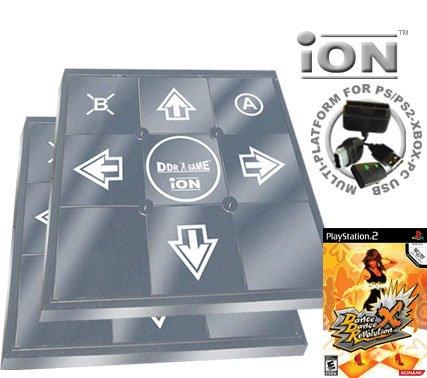 2 x Dance Dance Revolution iON Metal Dance Pad for PS2 + Dance Dance Revolution DDR X (PS2)