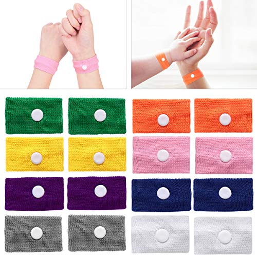 Acupressure Motion Sickness - ROSENICE Motion Sickness Bands - 8 Pairs of Natural Acupressure Nausea Relief Wristbands Anti Nausea Bracelet Drug-Free for Sea Car Flying Pregnancy Travel Sickness