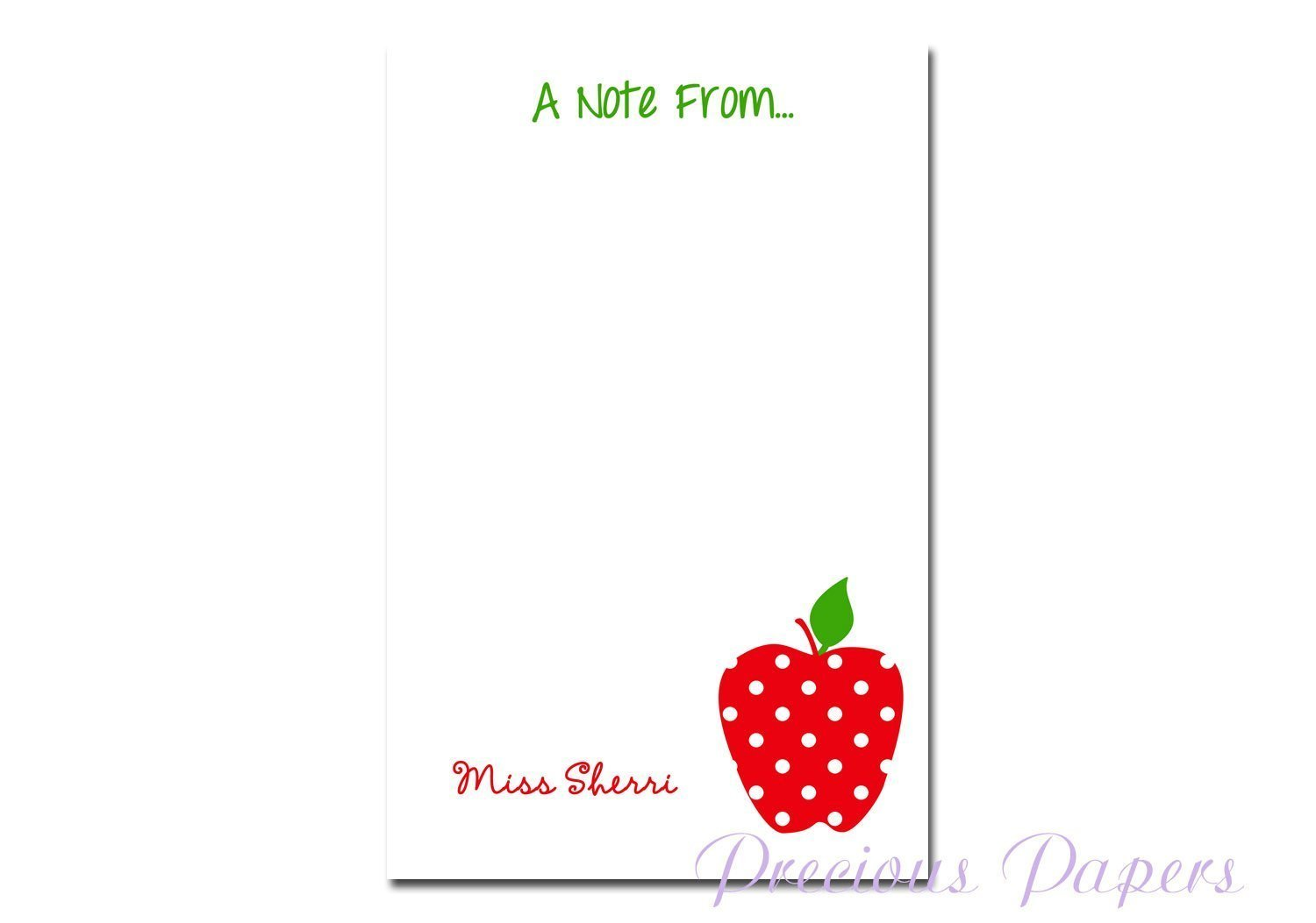 Personalized red polka dot apple notepad makes a great teacher gift teacher notepad apple note pad teacher appreciation