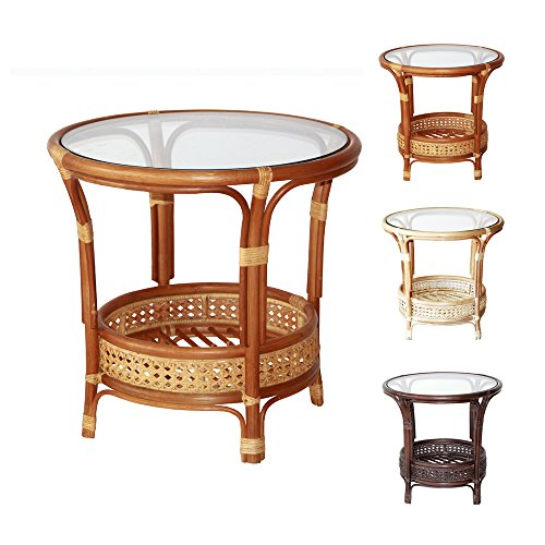 Pelangi Handmade Rattan Round Wicker Coffee Table with Glass Colonial (Light Brown)
