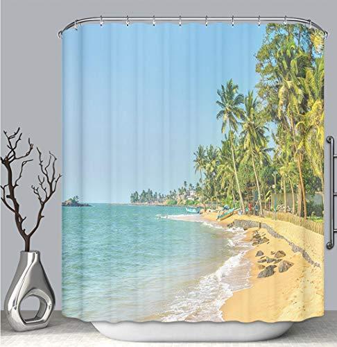BEICICI Color Shower Curtain Liner Anti-Mildew Antibacterial, Exotic Caribbean Beach Full of Palm Trees Multi-Color,Custom Shower Curtain Bathtub Bathroom Accessories.