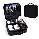 CHACCA Portable Travel Makeup Case Cosmetic Bags with Adjustable Divider, 3 Layers Large Capacity Makeup Train Case Storage Box for Makeup Brushes Toiletry Jewelry,10''(L) x 9.4''(W) x 4''(H),Black