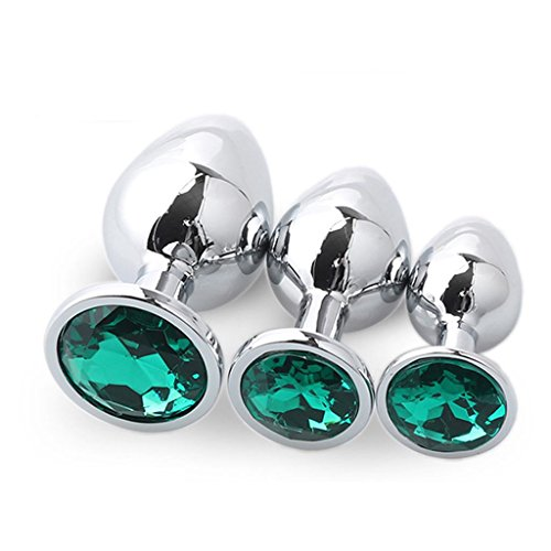 MJU2W 3pcs/size Stainless Steel butt jewel An-al Plug Diamonds Heart for Beginner - Dark Green