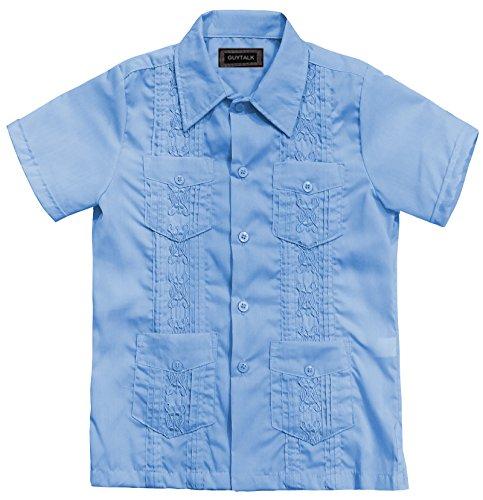 Guytalk Kids Boys' Guayabera Short Sleeve Shirt Sky BLUE-16 (Kids Cuban Shirt)