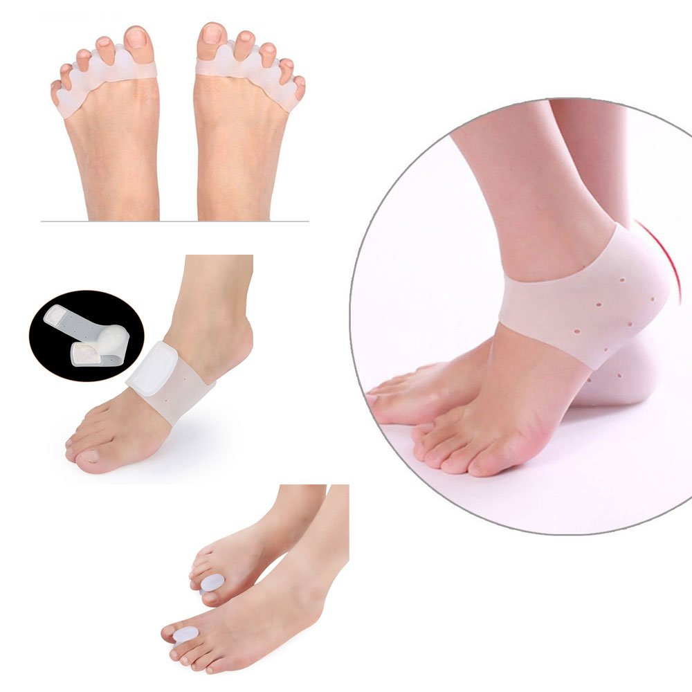 Tcare-1set foot care,Shock Absorption Heel Sleeves, Arch Support brace, Toe Straightener,toe Separator