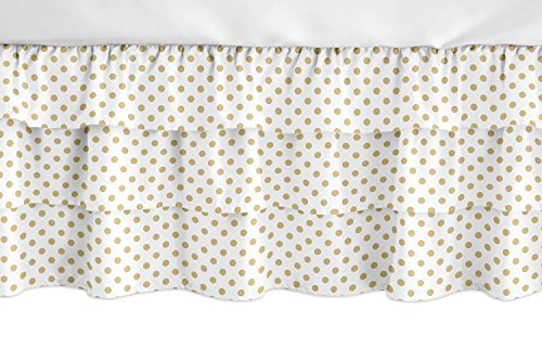 (Sweet Jojo Designs Gold and White Polka Dot Girl Ruffled Tiered Baby Crib Bed Skirt Dust Ruffle for Watercolor Floral Collection)