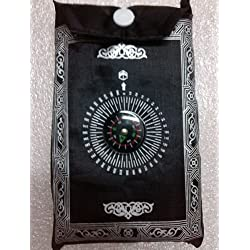 1pc Muslim Travel Prayer Rug with Pouch Islamic Portable Pocket Mat (Black)