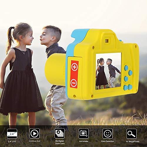 Denzar Mini Digital Camera for Kids, 2.4HD Screen Digital Camera 16MP Anti-Shake Face Detection, Portable and Compact (Blue)