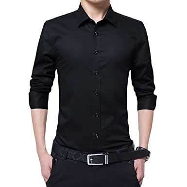 d488fecc94c DUee Mens Solid Business Plus Size Curvy Long Sleeve Lapel Button Top Shirt  XS Black