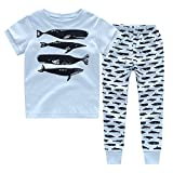 CNBABY Boys Pajamas Astronaut-Luminous Or None-Luminous Whale Dinosaur Kids Sleepwear 100% Cotton Size 1-8T