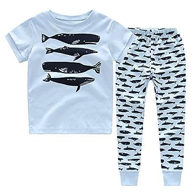 CNBABY Boys Pajamas Astronaut-Luminous Or None-Luminous Whale Dinosaur Kids Sleepwear 100% Cotton Size 1-8T