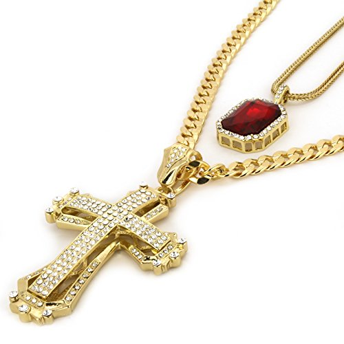 L & L Nation 14k Gold Plated Hip Hop Hollow Cross Pendant & Iced Red Ruby w/ 10mm Concave Cuban & 3mm Franco Chain Set