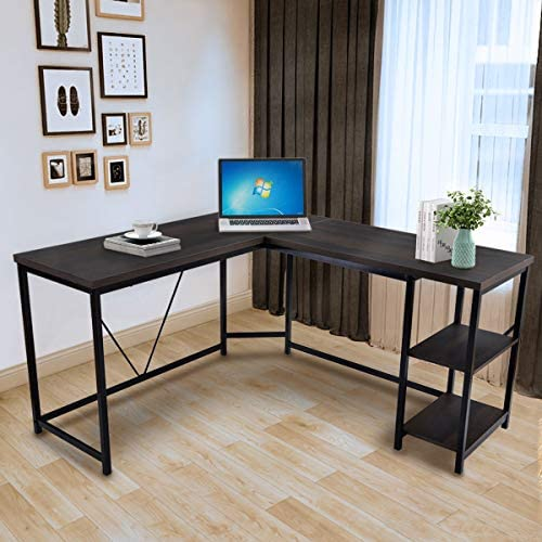 Goujxcy L-Shaped 59.1 Computer Corner Desk,Home Office Writing Workstation Desk Table,Walnut