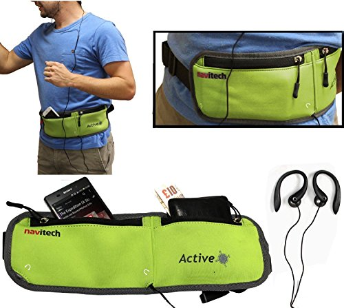 Navitech Green MP3/MP4 Running/Jogging Water Resistant Sports Belt/Waistband Compatible with The FiiO X3 (2nd Gen) Lossless