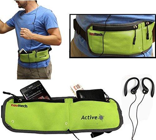 Navitech Green MP3/MP4 Running/Jogging Water Resistant Sports Belt/Waistband Compatible with The SanDisk SDMX18-008G-E46K Sansa Clip+