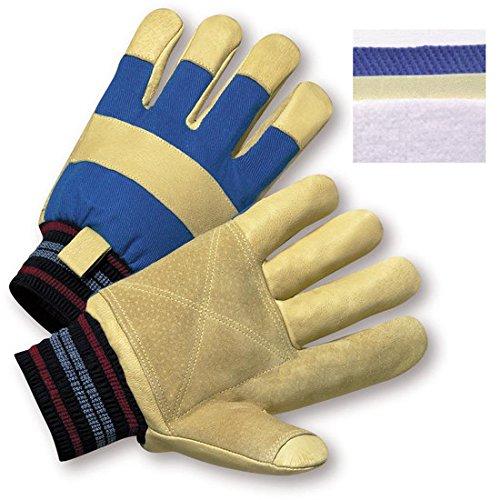 West Chester 1555RF Premium Grain and Reinforced Split Palm Pigskin Leather Industrial Gloves, Gunn Pattern, Knit Wrist Cuff, 10.38