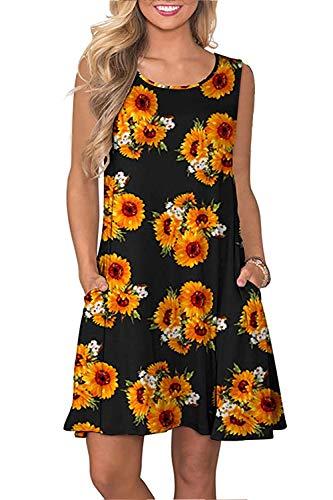 Petite Summer Dresses - Genhoo Womens Flower Dress Scoop Neck Summer Tshirt Sundresses Knee Length Petite Sun Flower S