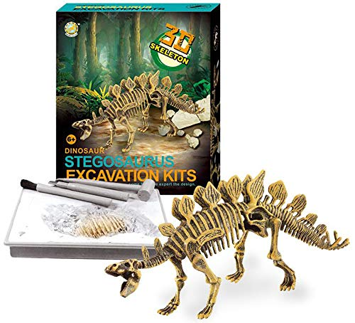 (PowerTRC Stegosaurus Dinosaur Skeleton Excavation Kit | Dino Fossil Excavation Science Kit with Tools)