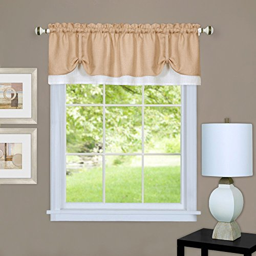 "Achim Home Furnishings Darcy Valance, 58 by 14"", Tan/White"