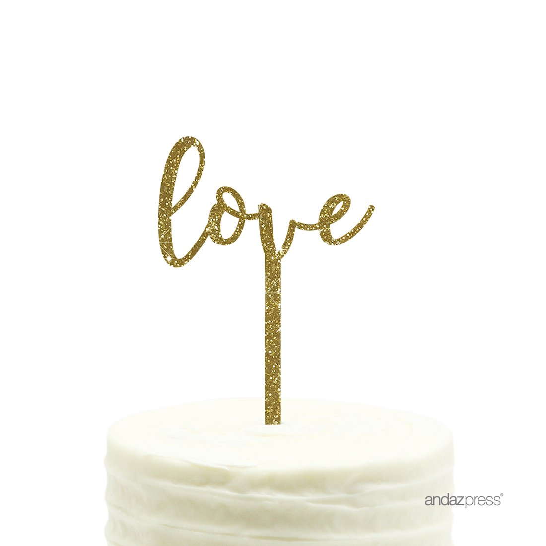 Andaz Press Wedding Acrylic Cake Toppers, Gold Glitter, Love, 1-Pack, 25th 50th Anniversary Decor Decorations