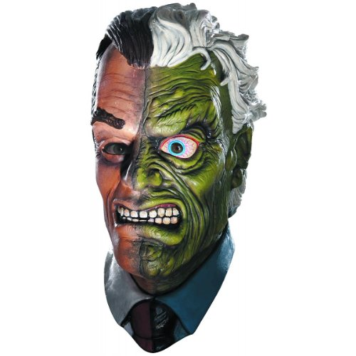 Two Face Costume Dark Knight (Batman The Dark Knight Rises Two Face Overhead Latex Mask, Multi, One Size)