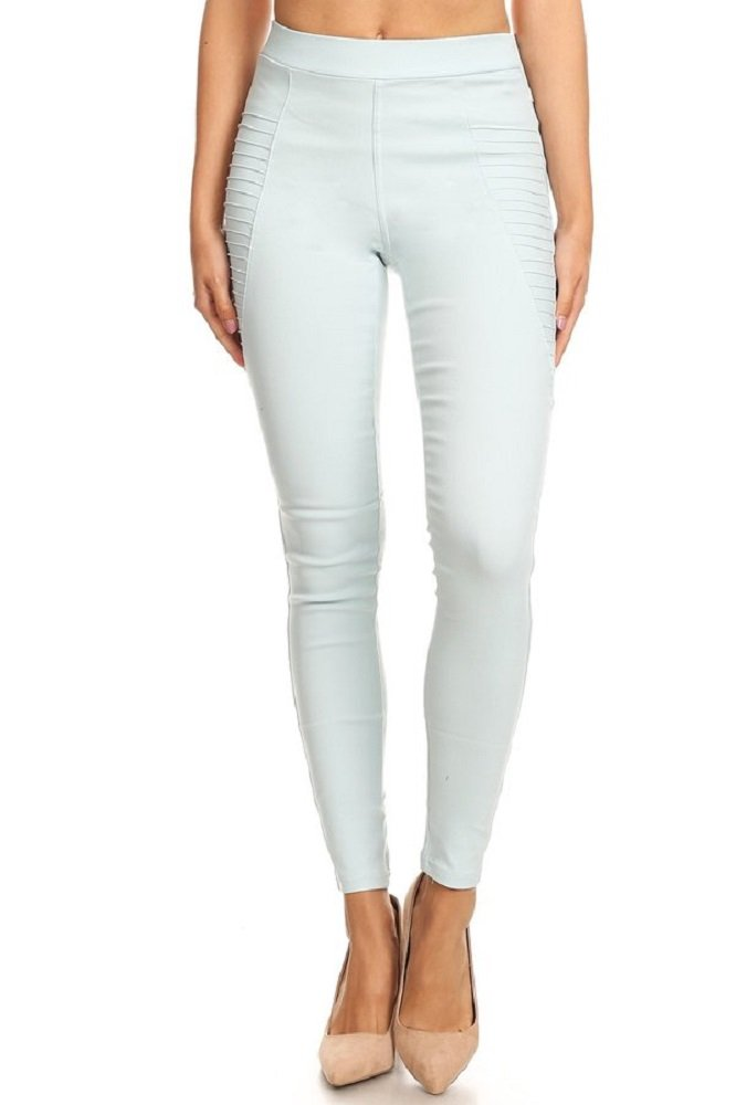 Jvini Women's High Waist Super Stretch Pull-On Moto Skinny Jeggings with Pockets (Large, Mint) by Jvini