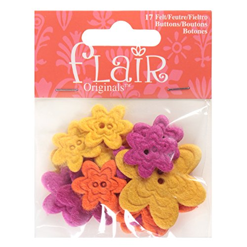 - Favorite Findings Flair Felt Buttons, Brilliant Blooms, 17 Piece