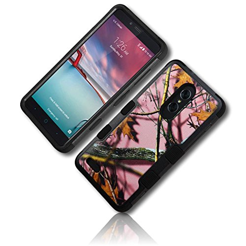 mySimple 3 Piece SECURE-Fit Rubberized Gel Hybrid Case w/ 2 Layered SHOCKPROOF Protection for ZTE ZMAX PRO w/ Oak Leaves Trees Branches Twigs Forrest Deer Hunting Ladies Camouflage Print {Multicolor} (Deer Twig)