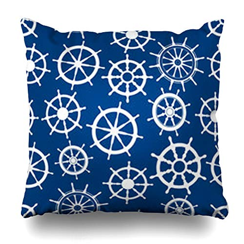 - DaniulloRU Throw Pillow Covers Nautical Ship Helms White Boat Steering Wheels Spokes Handles Over Blue Marine Pattern Sea Home Decor Sofa Cushion Cases Square Size 18 x 18 Inches Pillowcase