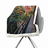 Khakihome Japanese Blanket Small Quilt 60 by 47 Inch Soft Microfiber Green BrownForest Landscape from a Wooden Balcony in The Fall Paradise Maple Tree Print