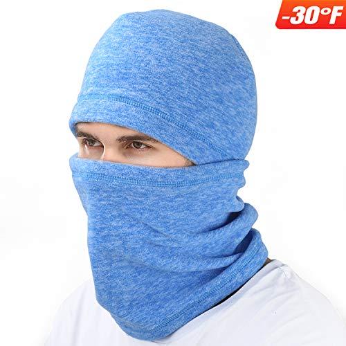 mysuntown Ski Face Mask Balaclava Fleece Hood for Men Women,Winter Neck Warmer Windproof Cap for Snowboarding Running Cycling Blue