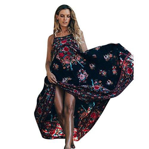 Winwintom mujeres Imprimir Floral retro palacio sin mangas vestido de fiesta vestido de noche vestido sin espalda
